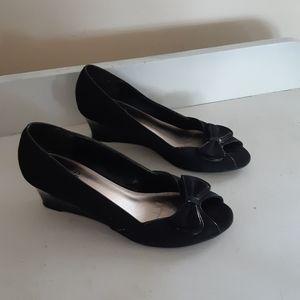 Impo Peep Toe Wedges Size 6.5 Black